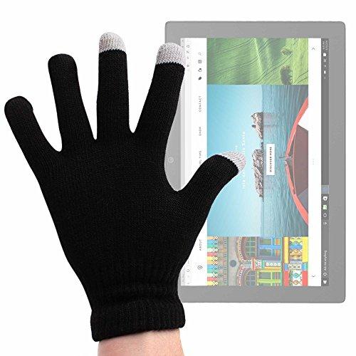 DURAGADGET Guantes Negros para Pantalla Táctil para ASUS Transformer Pro T304, ZenPad 3S 10 LTE/DELL Latitude 5285, 5825, 7285 / Lenovo Miix 720, X1 (2017), Yoga Book 12.2' - Talla Pequeña