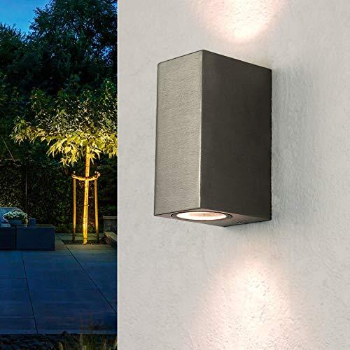 Moderne Wandleuchte in silber GU10 Wandlampe aus Aluminiumdruckguss für Garten Terrasse Weg Lampe Leuchten Beleuchtung außen