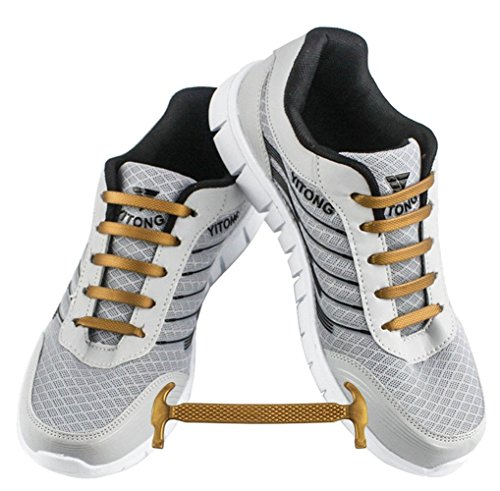 WELKOO® Cordones elásticos de silicona sin nudo impermeables para calzado de niños -12 pza,Talla NIÑO oro