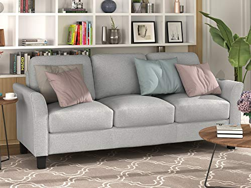 3-Seat Sofa Living Room Linen Fabric Sofa (Light Grey)