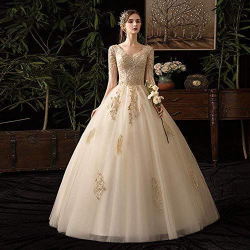 Stilvolle Einfachheit Brautkleider Mode Spitze Brautkleid Korsett Ärmellose Elegante Spitze V-Ausschnitt Open Back Braut Ballkleider, L-F, D36, 10