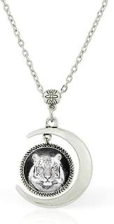 WUSHIMAOYI Moon Necklace White Tiger Pendant Necklace White Tiger Jewelry White Tiger Necklace Gift
