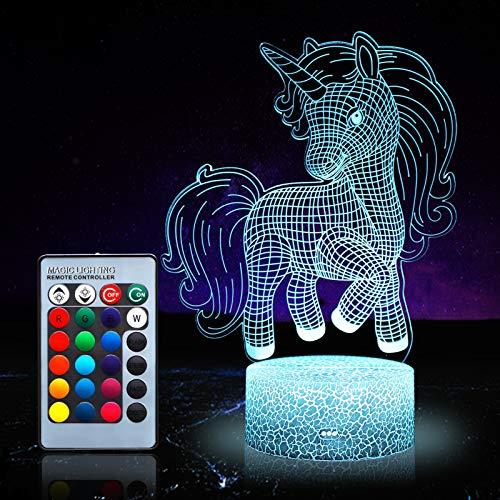 Unicornio luz nocturna para niños, unicornio juguetes para niña, 16 colores cambiantes lámpara nocturna con mando a distancia 1172