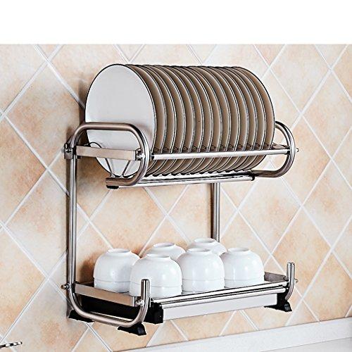 &étagère de rangement Bowl Shelf 304 étagère de cuisine en acier inoxydable Suspension murale Poussette baguettes vaisselle rangement incorporé étagère de drainage Bowl étagère 2 couche 40 * 25 * 38cm