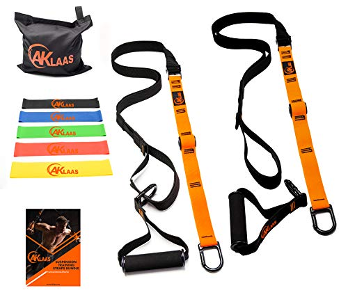 Bodyweight Resistance Training Straps Bundle | Fitness Suspension Trainer Equipment Kit + Door Anchor +5 Exercise Loop Bands | Home Suspension Workout Straps kit | Exercise Booklet | Home&Travel