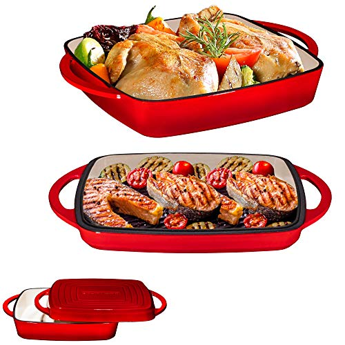 Bruntmor Pre-Seasoned Enameled Square Cast Iron Large Baking Pan. Cookware Baking Dish With Griddle Lid 2-in-1 & Double Handle for Casseroles Lasagna, 10-inch Multi Baker for Oven and Stove, Fire Red