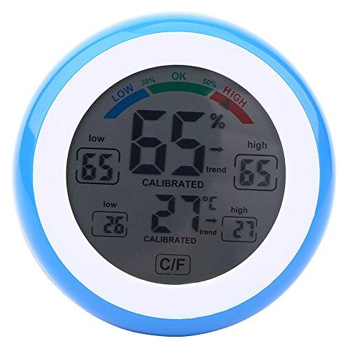 Fdit Termómetro de Temperatura LCD Digital Higrómetro Medidor de Humedad de Temperatura Electrónico Inalámbrico Medidor ℃ / ℉ Medición de Temperatura y Humedad(Azul)