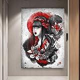 N\A Cuadro de Arte de Pared Geisha Japonesa Pintura sobre Lienzo Arte de la Pared Impresiones en Lienzo Obra de Arte para Decoraciones de Oficina en casa-Sin marco50x75cm