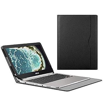 CaseBot Sleeve Case for 12.5  ASUS Chromebook Flip C302CA - Premium PU Leather Portfolio Book Cover  NOT Fit ASUS Chromebook Flip C213SA / C100PA / C101PA / C300SA / C202SA / C201PA  Black