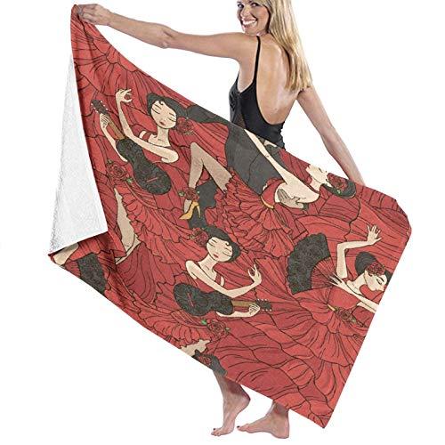Grande Suave Ligero Microfibra Toalla de Baño Manta,Bailarines de Flamenco de Tango,Hoja de Baño Toalla de Playa por la Familia Hotel Viaje Nadando Deportes Decoración del Hogar,52' x 32'