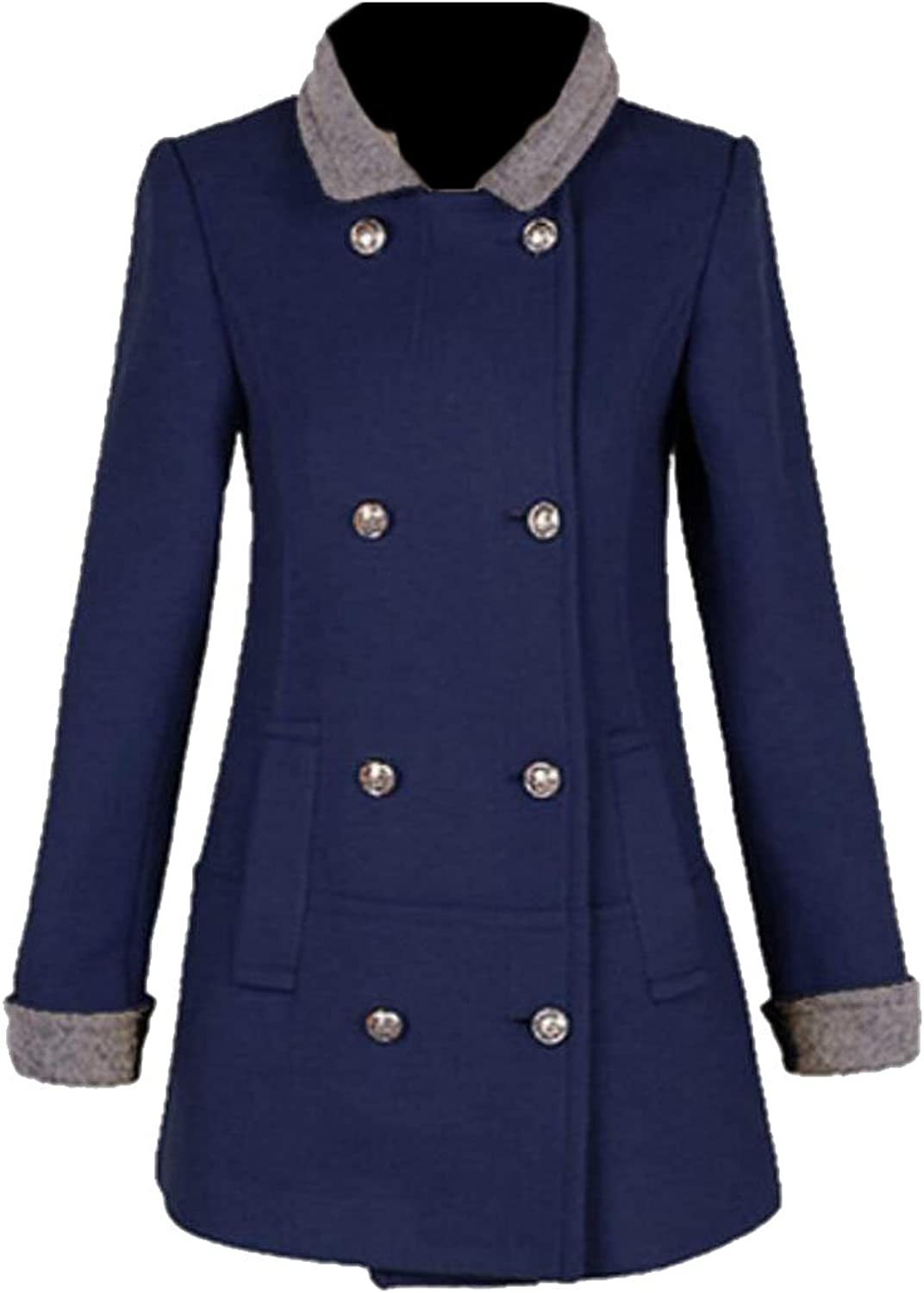GAGA Women's Fashion Casual Fit Double Breasted Wool Overcoat Coats