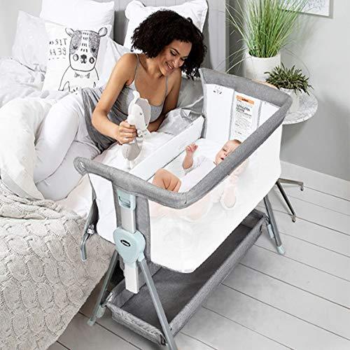 INFANS Baby Bedside Crib, Newborn Sleeper w/Large Storage Basket, Adjustable Heights & Angle, Detachable &Washable Mattress, Breathable Mesh, Straps, Easy Moving Bed Side Bassinet, Light Grey