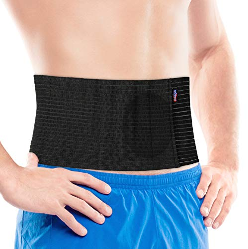 JNTAR Umbilical Hernia Belt for Men and Women with Compression Pad - Abdominal Binder for Hernia Support Navel Ventral Epigastric Incisional Belly Button Hernia Surgery Prevention Aid (Small/Medium)