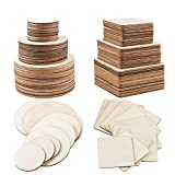Jetika Unfinished Wood Pieces, 100 PCS Small Assorted Size & Shape Wood Blanks for Crafts & Arts, Square & Round Wood Plaques for DIY, Coaster, Scrabble Tiles, Painting, Carving, Ornaments