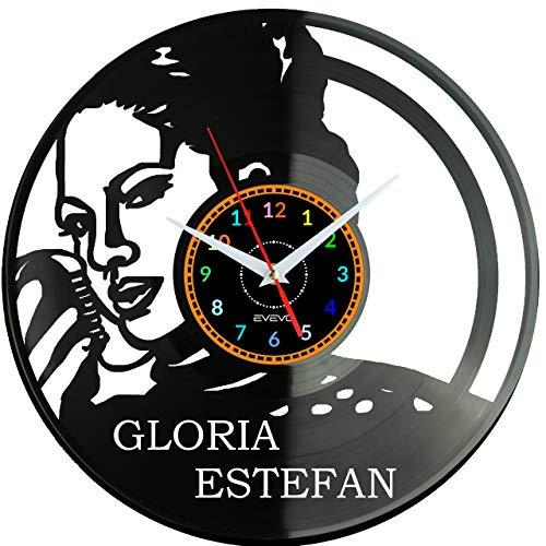 WoD Gloria Estefan Wanduhr Vinyl Schallplatte Retro-Uhr Handgefertigt Vintage-Geschenk Style Raum Home Dekorationen Tolles Geschenk Uhr Gloria Estefan