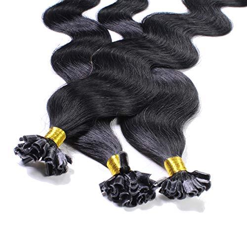 Hair2Heart 25 x 1g extensions cheveux keratine à chaud - 60cm, couleur #1 Noir foncé, ondulé