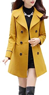 Macondoo Womens Casual Woolen Blend Lapel Collar Double-Breasted Pea Coat