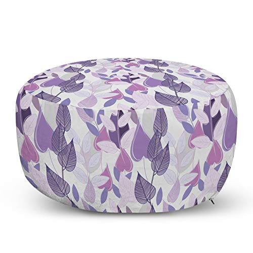Ambesonne Floral Ottoman Pouf, Foliage Leaves in Purple Tones Soft Leafage Vintage Abstract Nature Plants, Decorative Soft Foot Rest with Removable Cover Living Room and Bedroom, Lavender Beige