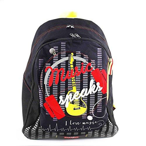 Alex & Co Zaino Superstar con Grafiche e Stampe Personalizzate Zainetto per bambini, Poliestere, Nero, 46 cm