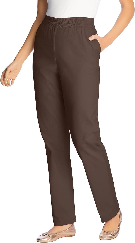 Woman Within Women's Plus Size Elastic-Waist Straight Leg Chino Pant
