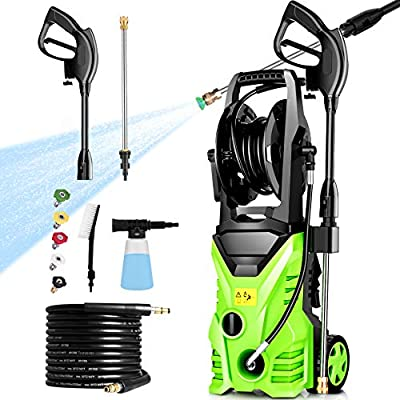 Homdox Pressure Washer 62CC Chainsaw, ,2950 PSI Power Washer Cleaner 1800W 1.7GPMwith Power Hose Gun Turbo Wand Electric Pressure Washer High Power Washer Cleaner Machine with 5 Nozzle