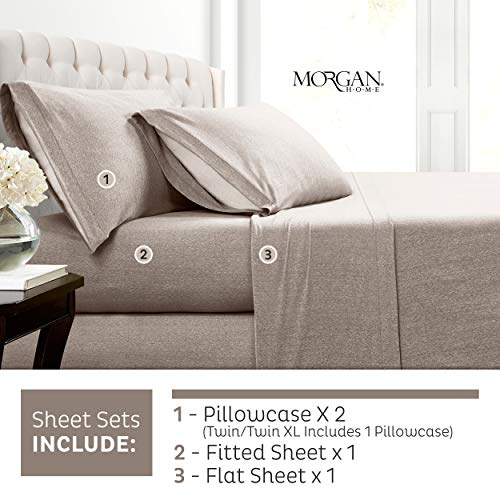 Morgan Home Cotton Rich T-Shirt Soft Heather Jersey Knit Sheet Set - All Season Bed Sheets, Warm and Cozy (King, Heather Taupe)