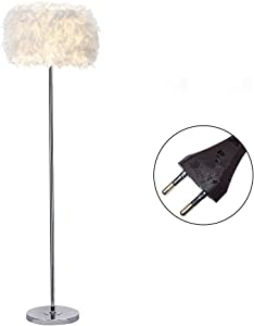 ELINKUME Lampada da Terra Moderna Design, Bianco Colore Piuma Lampada da Terra, Illuminazione Interna per Salotto/Soggiorno (interruttore a pedale, E27 supporto lampada)