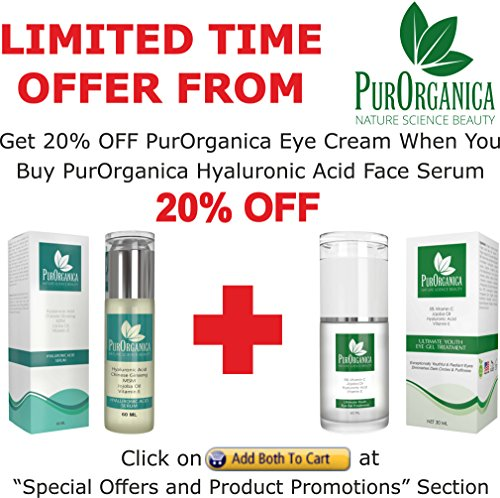 PurOrganica HYALURONIC ACID Serum - HUGE 2 OZ BOTTLE - The Best Anti Ageing & Anti Wrinkle Serum - This Premium Organic Serum Will Hydrate & Brighten Skin While Filling In Those Fine Lines & Wrinkles