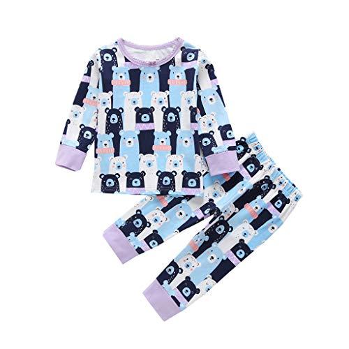 Julhold Peuter Baby Casual Lange Mouw Cartoon Beer Katoen Houd Slim Tops+Broek pyjama Slaapmode Outfits 3-24 Maanden