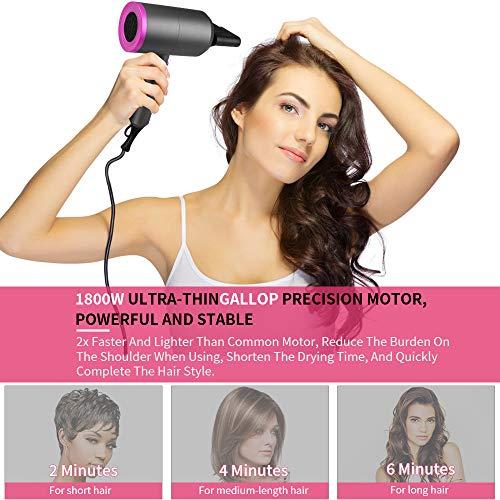 Asciugacapelli 1800 W Potente, MANLI Phon per Capelli Professionale a Ioni con 1 Diffusore 2 Concentratori 3 Velocità di Aria Calda & Fredda Phon Ionico per Capelli Hair Dryer (Fuscia)