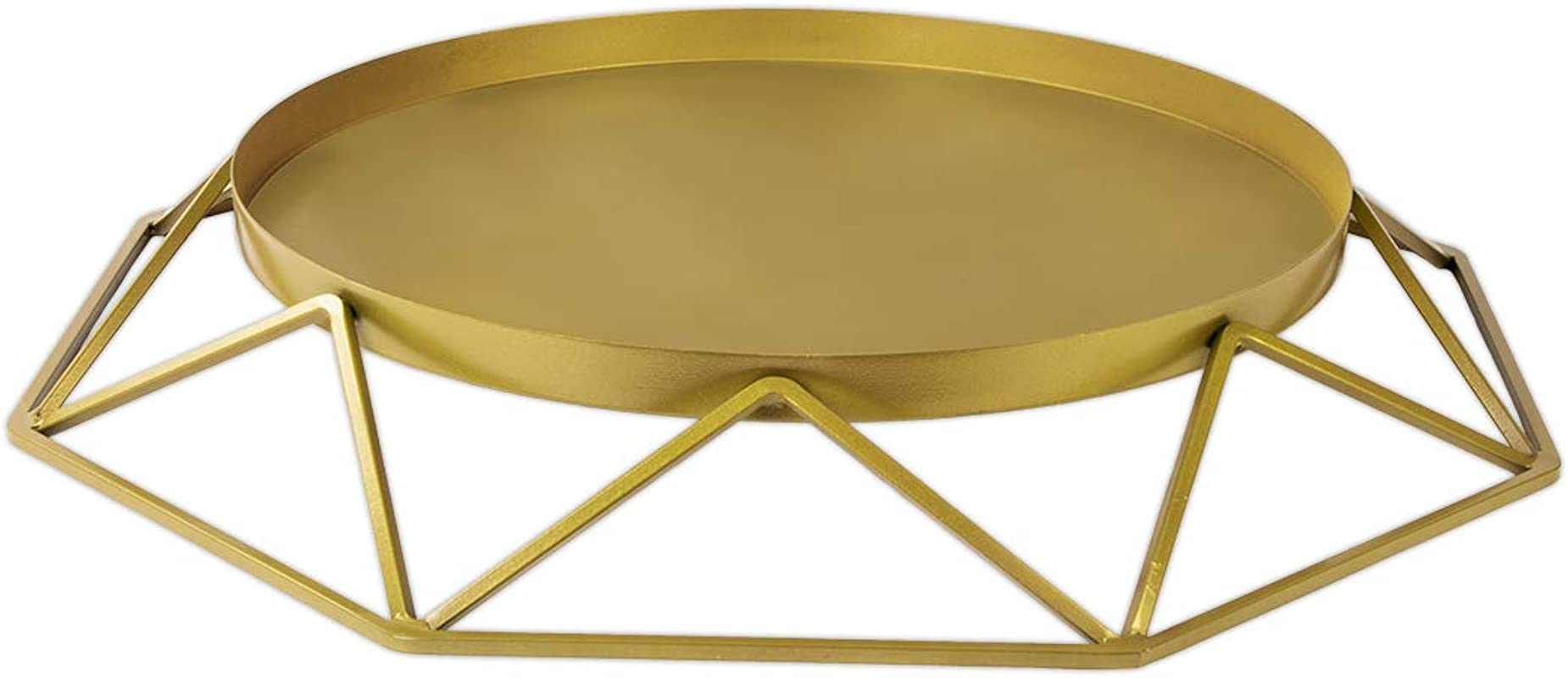 Koyal Wholesale Gold Geometric Metal Round Cake Stand 15 75 Inch Round Modern Geo Large Tier Cake Stand