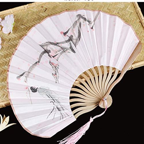 ZWY Ventilador de Estilo japonés, Ventilador de Seda, Ventilador del Arte Regalo, Abanico Plegable, Ventilador de Estilo japonés, Fan Redonda (Color : O)