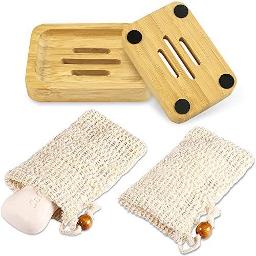 PAMIYO 2 jaboneras de bambú con 2 saquitos de jabón, jabonera de madera natural hecho a mano jabonera para cocina baño jabón sacos de jabón orgánicos con cordón para la cara y el cuerpo
