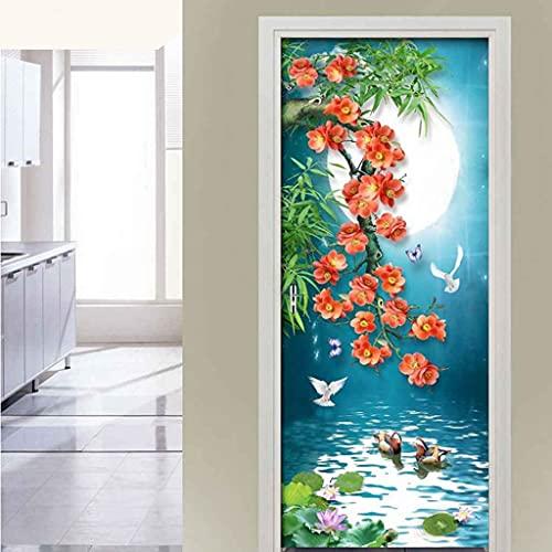 CUUDBP 3D Etiqueta De La Puerta, Flores De Color Rosa Lago Impermeable Extraíble Pegatinas De Pared Pintura Mural Autoadhesivos Papel Tapiz para Puertas Interiores Dormitorio Decoracion 77X200Cm