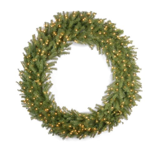 National Tree Company Pre-lit Artificial Christmas Wreath | Includes Pre-strung White Lights | Norwood Fir - 60 Inch