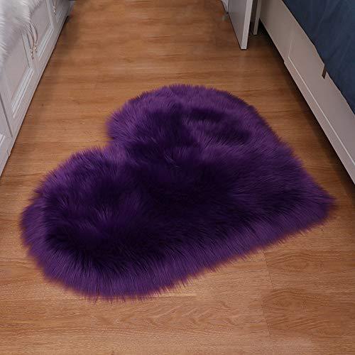 ZXXY Alfombra de Piel Artificial, Alfombra de Alfombra esponjosa en Forma de corazón en la Alfombra de Piel Artificial de la Oficina del Dormitorio en casa - Violeta