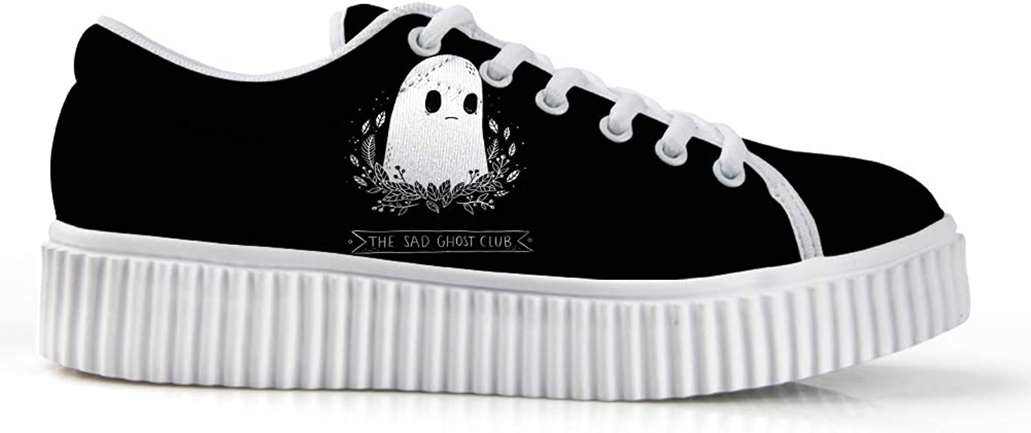 Owaheson Platform Lace up Sneaker Casual Chunky Walking shoes Low Top Women Halloween The Sad Ghost Club