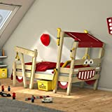 WICKEY lit pour enfant 'Crazy Sparky Max' design Pompier- Lit simple en bois massif - 90x200 cm