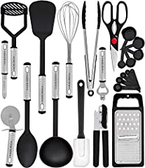 23 NYLON COOKING UTENSILS - Utensil Set includes everything you need to cook that perfect dish HIGH QUALITY THAT LASTS - These kitchen gadgets are made to stand the test of time. Top of the range 430 stainless steel handles provide greater durability...
