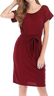ECHOINE Women's Elegant Business Work Dresses - Short Sleeve Dress with Belted