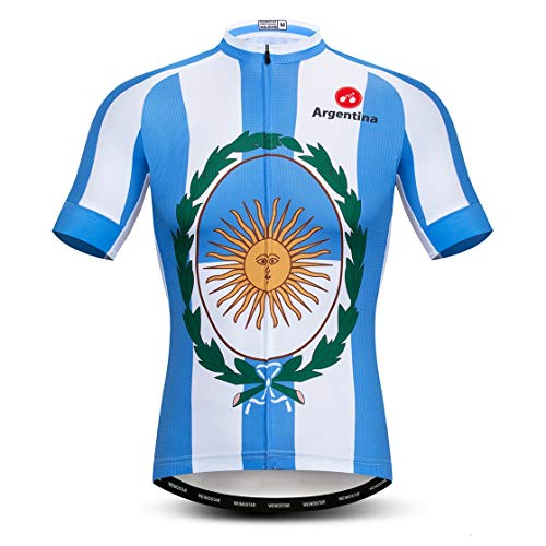 Weimostar Ciclismo Jersey Hombres Bicicletas Jersey Camisetas Road MTB Jersey manga corta Verano Argentina azul Tamaño L