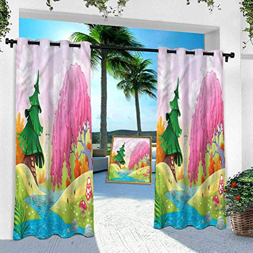 Aishare Store Pergola Curtain, Cartoon,Fantasy Landscape Trees, W 100' x L 84' Thermal Insulated Outdoor Patio Curtains for Light Block/Energy Saving(1 Panel)