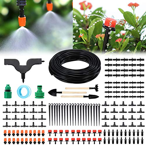 Garden Irrigation System, PATHONOR 50ft/15m Drip Irrigation Kit 168 Pcs with Adjustable Nozzles Drippers Distribution Tubing Hose Saving Water Automatic Irrigation Set for Garden Greenhouse Patio Lawn