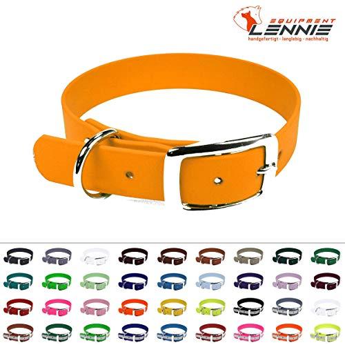 LENNIE BioThane Halsband, Dornschnalle, 13 mm breit, Größe 23-27 cm, Pastell-Orange, Aufdruck möglich