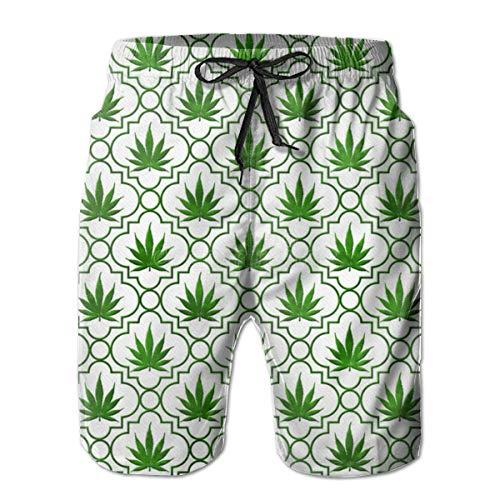 gatetop Bañador para Hombre Shorts de baño de Playa de Secado rápido Patrón de Hoja de Marihuana Verde XXL