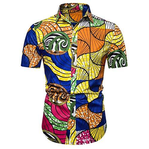 Camisas Florales Elegantes Informales de Fiesta de Manga Corta con Estampado Floral para Hombres, Blusa con Botones de Talla Grande de Verano Delgado de Moda de Estilo étnico M