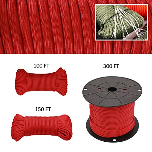 Geelife 640lb Parachute Cord Survival Utility 9 Strands Core 4mm Commercial Grade Paracord Red 150 ft