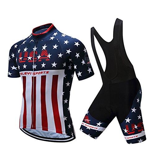 JPOJPO Men's Cycling Jersey Set,Bicycle Short Sleeve MTB Bike Clothing Ropa Ciclismo,Pad Cycling Bib Shorts Set