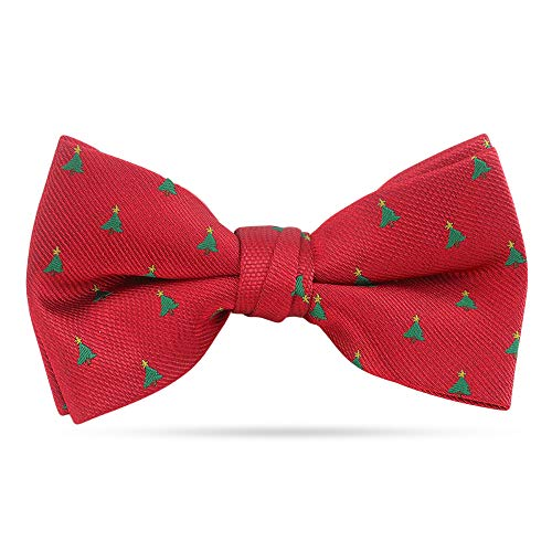 Christmas Bow Ties For Men Pre Tied Holiday Woven Bowtie Red Tree & Star Bow Tie