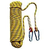 Xkfgcm 8mm*10m Corde d'évasion d'escalade de Anti-déchirures Sauvetage Corde avec 2 Mousquetons pour Laisse Amarrage Escalade Randonnée Alpinisme Parachute Sauvetage
